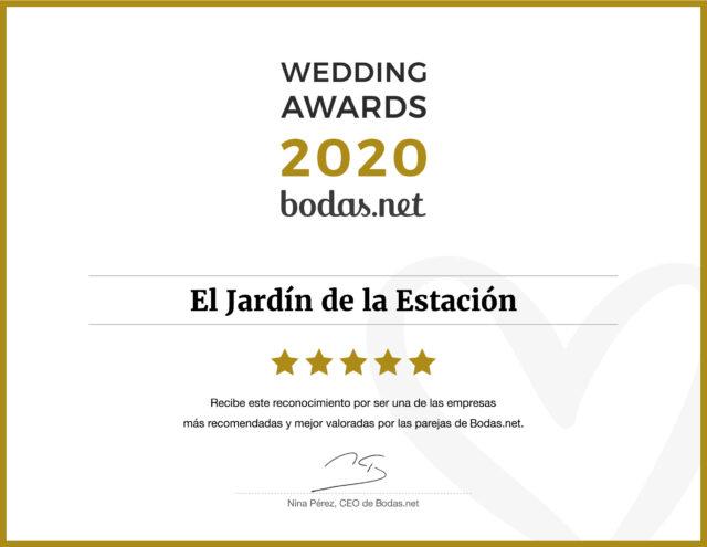 Premio bodas.net 2020 - El Jardín de la Estación